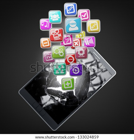 tablet with color application icons isolated on black background. high resolution 3d illustration