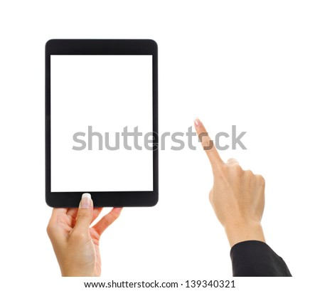 Tablet with human finger - stock photo