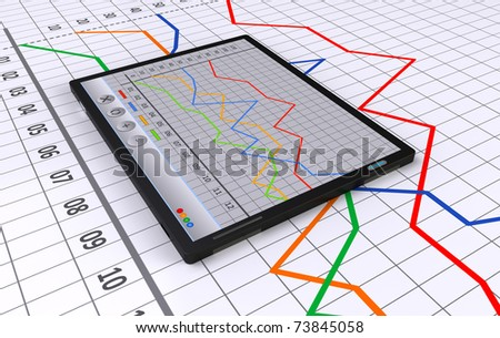 Tablet with linear bar chart