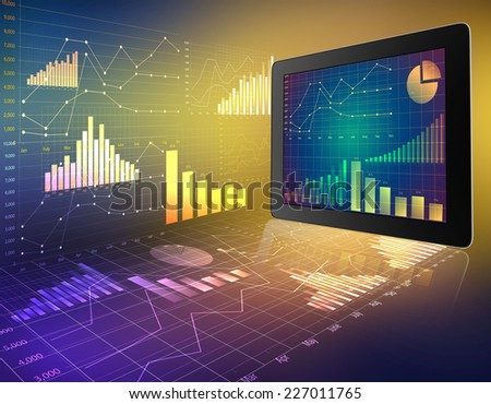 tablet with screen chart on abstract background graphics - stock photo
