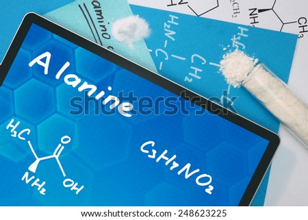 Tablet with the chemical formula of Alanine  - stock photo