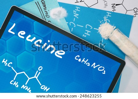 Tablet with the chemical formula of Leucine  - stock photo