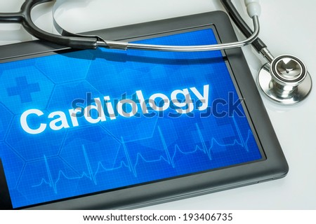 Tablet with the medical specialty Cardiology on the display - stock photo