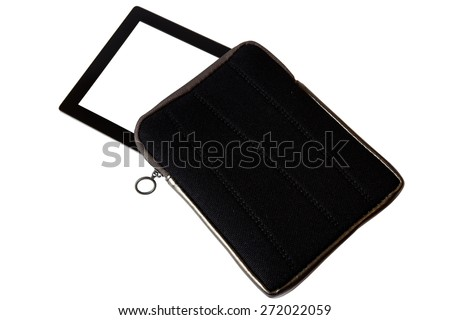 Tablet with white screen and cover isolated on white background - stock photo