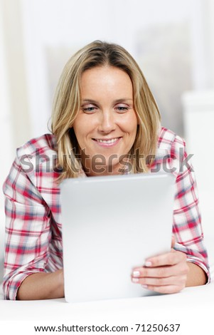 tablet woman - stock photo