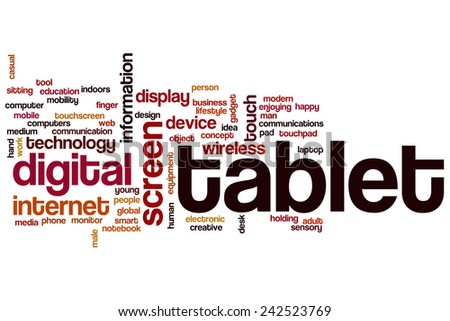 Tablet word cloud concept with display touch related tags - stock photo
