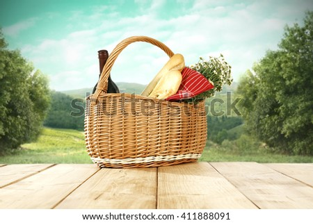 tabletop background of bread wine and flowers