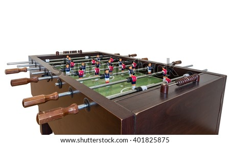Tabletop football game. On a white background.