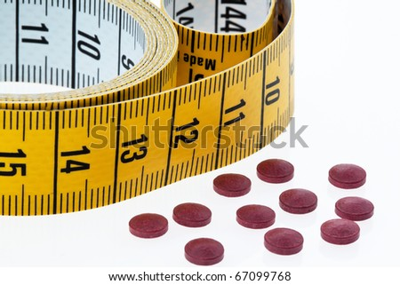 Tablets and drugs to decrease K?rpergewichtg - stock photo