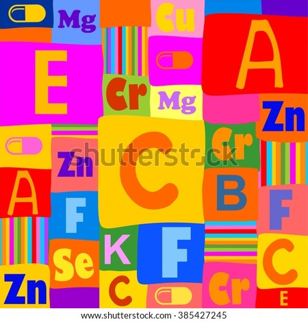 Tablets and vitamins. Colored seamless pattern. illustration - stock photo