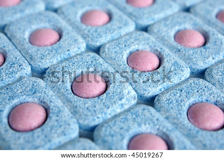 Tablets for dish-washing machine, for backgrounds or textures - stock photo