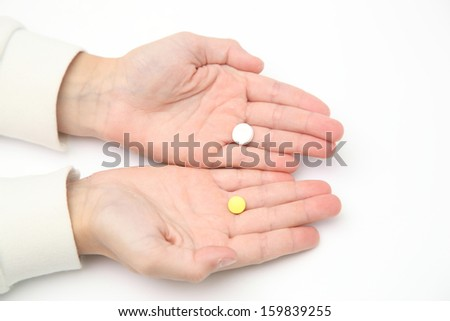 Tablets In A Child S Hand Stock Photo