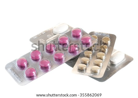 Tablets in packing on a white background