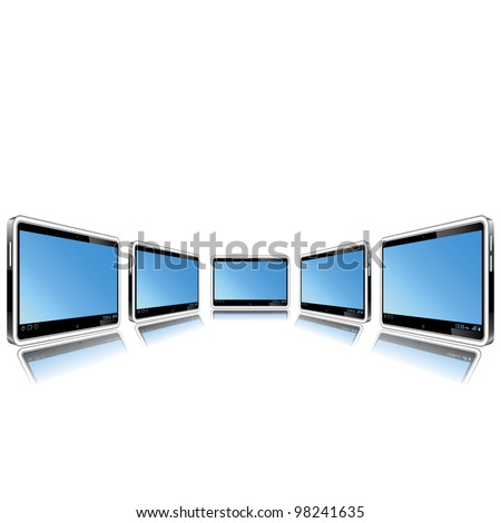 Tablets in the projection on a white background - stock photo