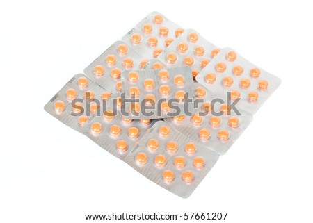 Tablets packing isolated on white background