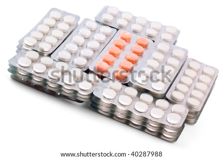 Tablets packing on white background