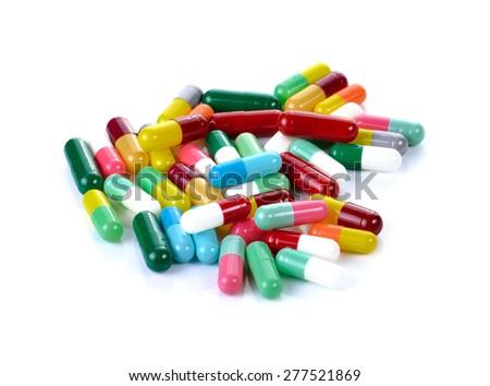 Tablets pills capsule heap medicine - stock photo