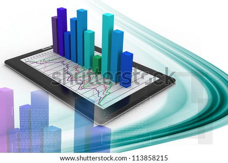 Tablets with a bar graph - stock photo