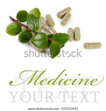 Tablets with a plant close-up. Medical concept - stock photo