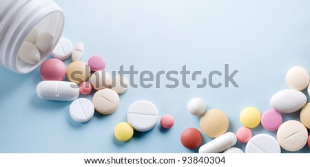 Tablets with capsules. - stock photo