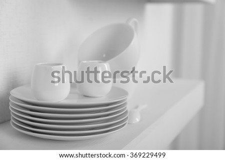 Tableware on a white background, close up - stock photo