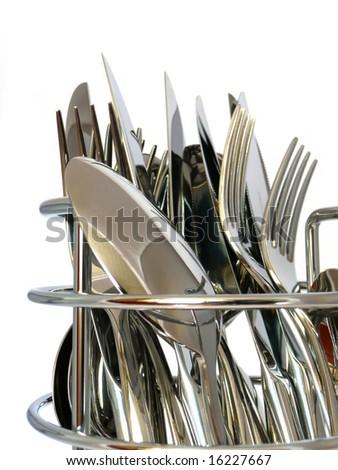 tablewares- plugs, knifes, spoons - stock photo