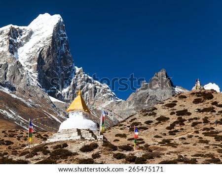 Tabuche Peak and stupa on the way to Everest base camp - stock photo