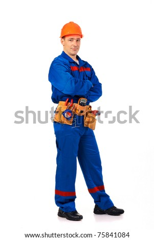 Tachnician man working class with equipment against white background full-length - stock photo