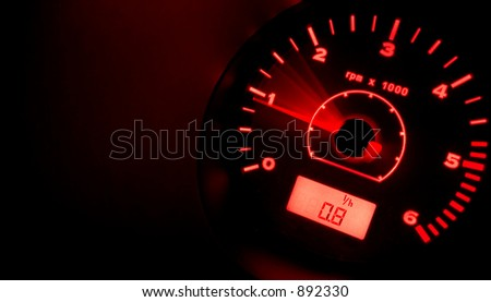 tachometer at night - red (original version)