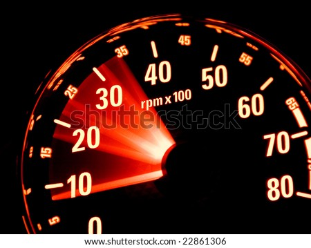 Tachometer at work. Revolutions in the control panel of the car. - stock photo