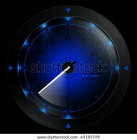 Tachometer blue  isolated on black 3D render - stock photo