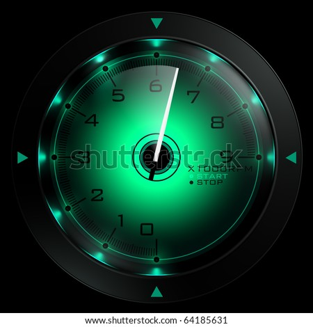 Tachometer green  isolated on black 3D render - stock photo