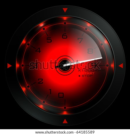 Tachometer isolated on black 3D render - stock photo