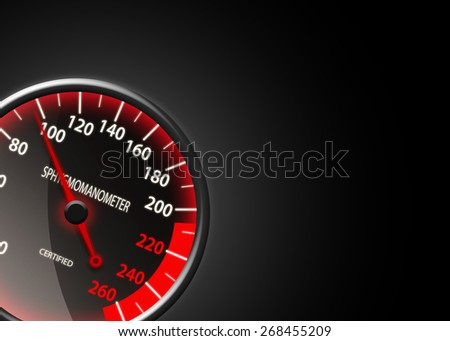 Tachometer-like sphygmomanometer on black background