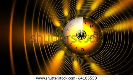 Tachometer orange abstract 3D render - stock photo