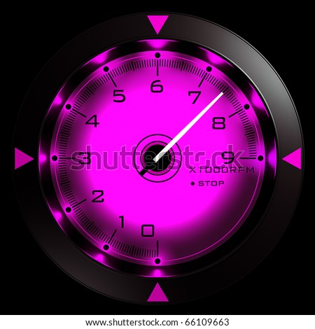 Tachometer pink isolated on black 3D render - stock photo