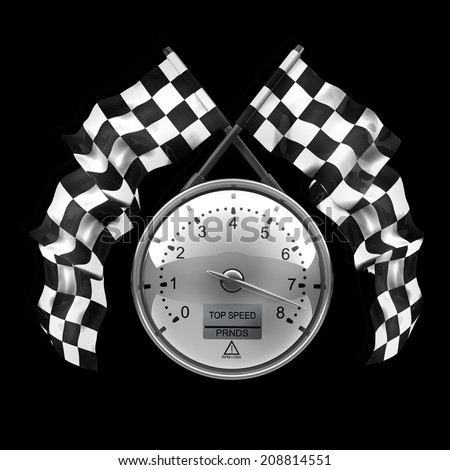 tachometer. Two crossed checkered flags isolated on black background High resolution 3d render  - stock photo