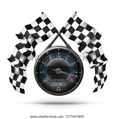 tachometer. Two crossed checkered flags isolated on white background High resolution 3d render  - stock photo