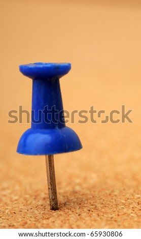 Tack on a cork board. Macro closeup with shallow depth of field. - stock photo
