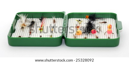 Tackle box for fly fishing - stock photo