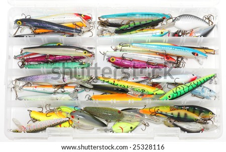 Tackle box of jerk baits - stock photo