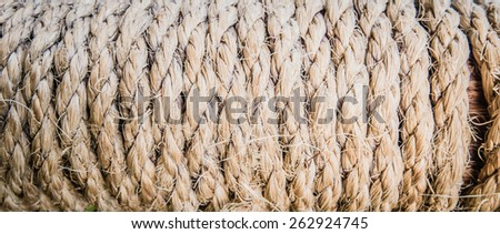 Tackle twisted rope texture, panorama - stock photo