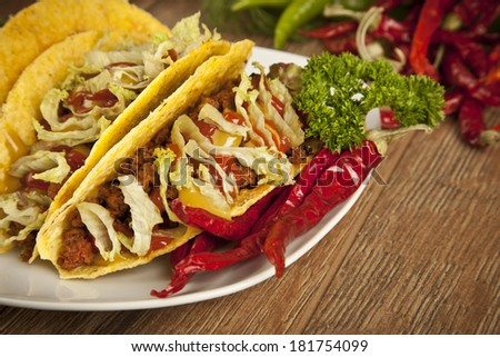 Taco Mexican Cuisine - stock photo