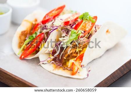 Taco salsa mexican food - stock photo