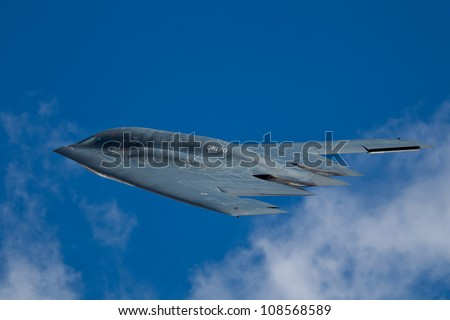 TACOMA, WA - JULY 21: Northrop Grumman B-2A Spirit (Spirit of Ohio) flyby demonstration during Air Expo at McChord Field Joint Base Lewis-McChord on July 21, 2012 in Tacoma, WA. - stock photo
