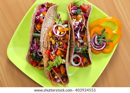 tacos on plate fast food - stock photo