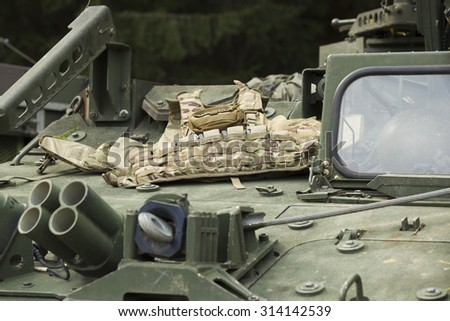 tactical body armor on the armor of military armored vehicles - stock photo