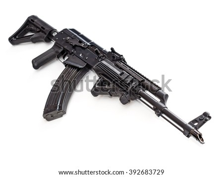Tactical custom built ak rifle on white background, shallow depth of field - stock photo