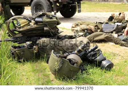 Tactical equipment of special forces. Military accessories of special forces soldiers. - stock photo