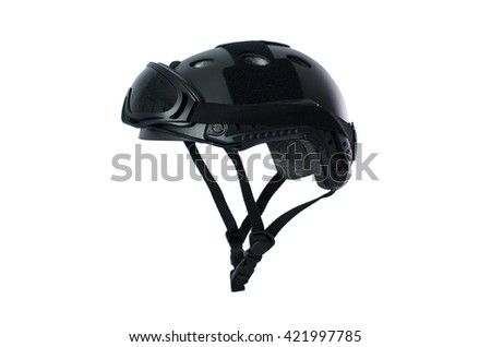 Tactical helmet with safety goggles Di-cut On White Background - stock photo